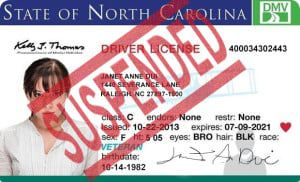North Carolina Drivers License Suspended