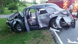 drunk driver crashes 1939 Pontiac